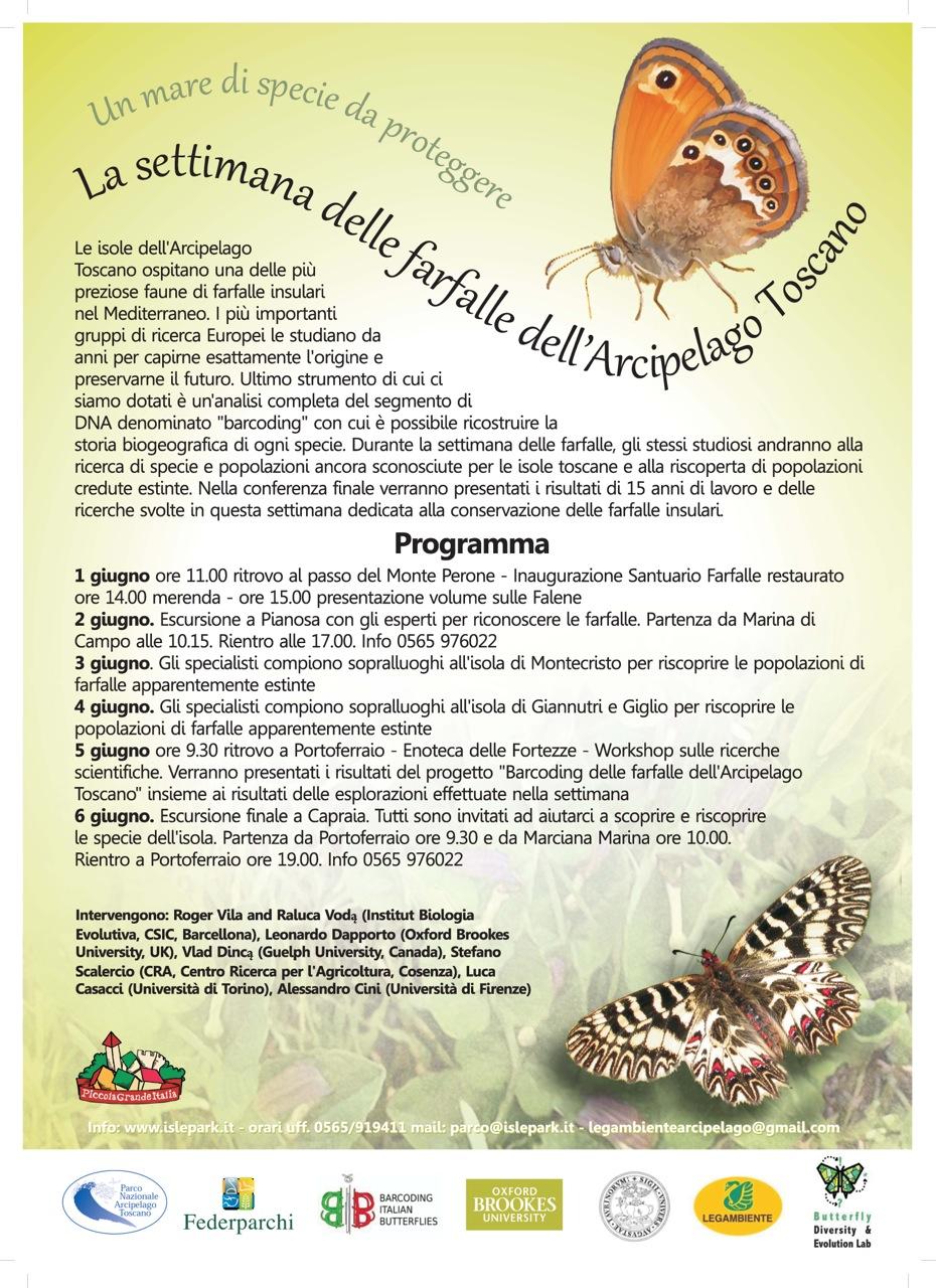 La settimana delle farfalle dell'Arcipelago Toscano